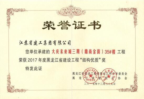 """黑龙江分公司一项目获省级""""结构优质""""奖"""
